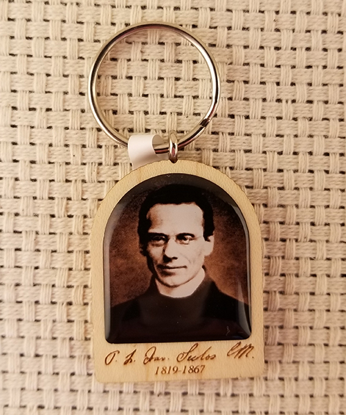 "Photo of ""Pray for Us"" Wood Keychain"