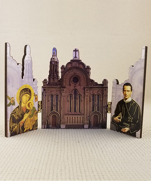 Photo of Our Mother of Perpetual Help Woodcut Triptych