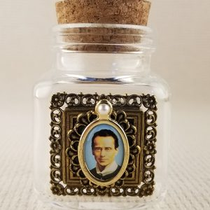 Small glass holy water bottle
